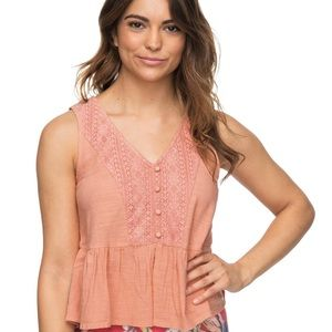 Roxy Coral Boho Tank with Button and Embroidered